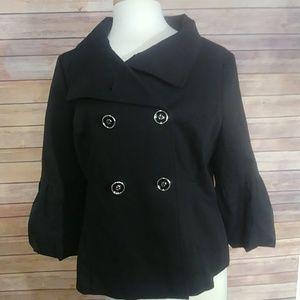 White/ Black Double Breasted black blazer large